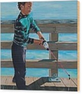 Naples Boy Fishing Wood Print
