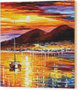 Naples-sunset Above Vesuvius - Palette Knife Oil Painting On Canvas By Leonid Afremov Wood Print
