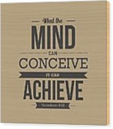 Napoleon Hill Typography Art Quotes poster Wood Print