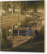 Narbonne France Canal De La Robine At Night Dsc01657  Wood Print