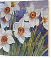 Narcissus Daffodil Flowers Wood Print