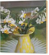 Narcissus In The Vase Wood Print