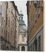 Narrow Road Stockholm Wood Print