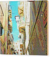Narrow Street Cefalu Italy Digital Art Wood Print