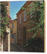 Narrow Street In The Village Wood Print