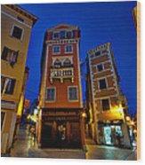 Narrow Streets And Buildings - Rovinj Croatia Wood Print