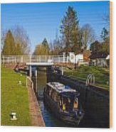 Narrowboat In Lock Wood Print