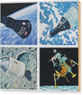 Nasa Manned Spacecraft Of The 1960's. Wood Print
