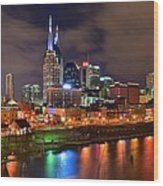 Nashville Is A Colorful Town Wood Print