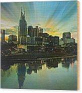 Nashville Over The Cumberland Wood Print