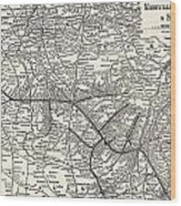 Nashville Railway Map Vintage Wood Print