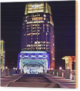 Nashville Sight Night Skyline Pinnacle Panorama Color Wood Print