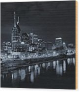 Nashville Skyline At Night Wood Print