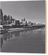 Nashville Skyline In Black And White At Day Wood Print