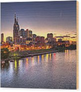 Nashville Skyline Panorama Wood Print