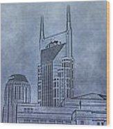 Nashville Skyline Sketch Wood Print