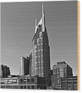 Nashville Tennessee Skyline Black And White Wood Print by Dan Sproul