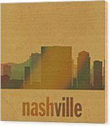 Nashville Tennessee Skyline Watercolor On Parchment Wood Print