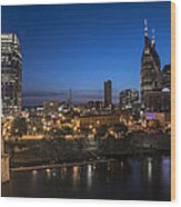 Nashville Tennessee With Pedestrian Bridge  Wood Print by John McGraw