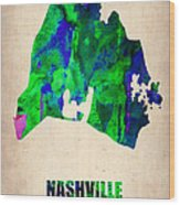 Nashville Watercolor Map Wood Print by Naxart Studio