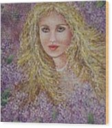 Natalie In Lilacs Wood Print