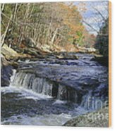 Natchaug River Falls Wood Print