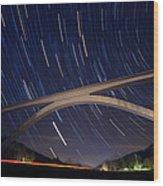 Natchez Trace Bridge At Night Wood Print
