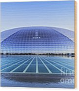 National Centre For The Performing Arts Beijing China Sunset Wood Print by Colin and Linda McKie
