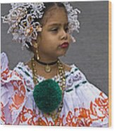 National Costume Of Panama Wood Print