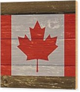 Canada National Flag On Wood Wood Print