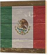 Mexico National Flag On Wood Wood Print
