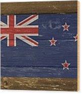New Zealand National Flag On Wood Wood Print