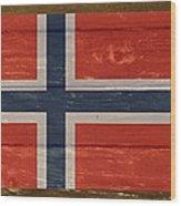 Norway National Flag On Wood Wood Print