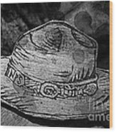 National Park Service Ranger Hat Black And White Wood Print