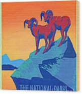 National Parks Wild Life Poster Wood Print