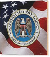 National Security Agency - N S A Emblem Emblem Over American Flag Wood Print