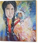 Native American And Child Wood Print