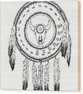 Native American Ceremonial Shield Number 2 Black And White Wood Print