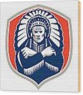 Native American Chief Warrior Headdress Retro Wood Print