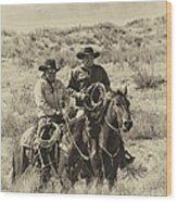 Native American Cowboys Wood Print
