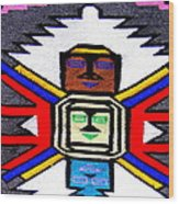 Native American Grey White Quilt Detail Wood Print