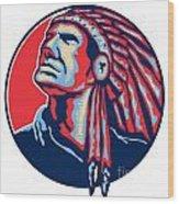 Native American Indian Chief Retro Wood Print by Aloysius Patrimonio