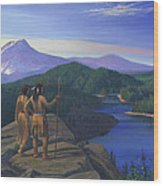 Native American Indian Maiden And Warrior Watching Bear Western Mountain Landscape Wood Print