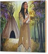 Native American Mother And Child Wood Print