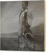 Native American Two Woman Bw Wood Print