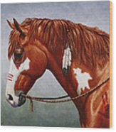 Native American War Horse Wood Print