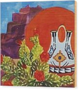 Native American Wedding Vase And Cactus Wood Print