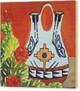Native American Wedding Vase And Cactus-square Format Wood Print