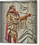Native American With Blowgun Wood Print