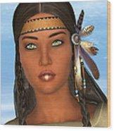 Native American Woman Wood Print by Design Windmill
